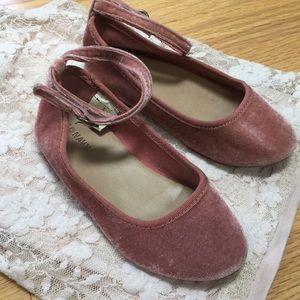 Velvet pink ankle strap flats - size 9 girls